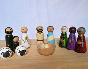 CHRISTMAS IN JULY **Nativity peg doll set