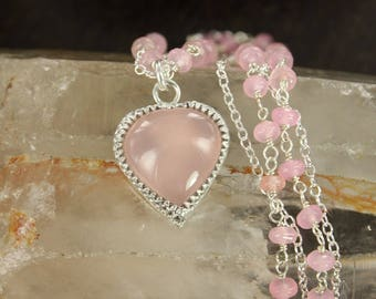 Heart necklace - Chalcedonia necklace - Valentin day necklace - Handmade