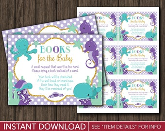Books for Baby Insert | Under the Sea Baby Shower Book Request Card | Printable Digital File | INSTANT DOWNLOAD