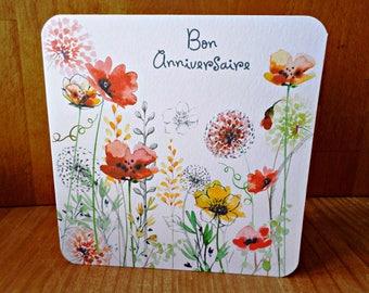 Dual flowers good birthday 15 x 15cm - Card Bubble