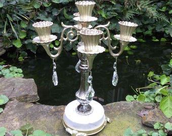 Vintage Candelabra, Mid Century Candelabra, 4 Arm Candelabra, Crystal Prisms, Ornate Candelabra, Marble Base