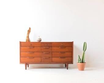 Mid Century Modern Cherry 12 Drawer Dresser by Century