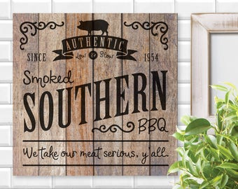 Authentic Smoked Southern BBQ Sign, Cricut, Silhouette, SVG, PNG, Digital Cut File, Kitchen Signs, Wood Sign, Edgy Decor, Grilling, Cooking