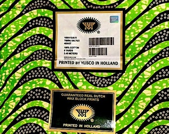 African Wax Print Fabric/Brown/Green/Wholesale