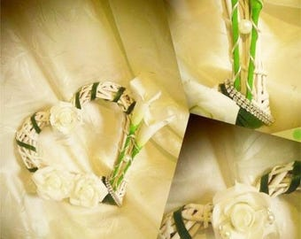 Ring bearer lilies and roses artificial Wicker woven heart