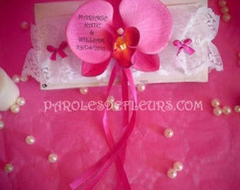 """""""BELLA"""" pink Orchid garter C with text printed"""