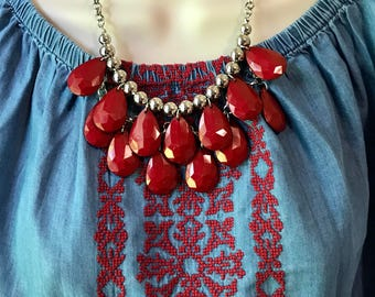 Red and Silver Nautical Bubble Bib Beaded Chandelier Statement Necklace with Matching Earrings