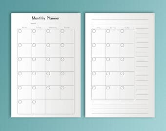 Mini Happy Monthly Inserts Printable Mini Happy Planner Inserts Moth on Two Pages Month at a Glance Mini Mambi Refills Instant Download