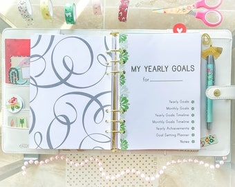 Filofax A5 Inserts YEARLY GOALS Kit A5 Planner Inserts 5.8 x 8.3 Life Planner Printable Filofax Monthly Family Career Finance 16 docs  PDF