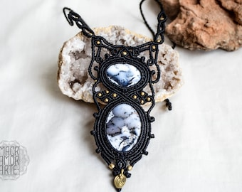 ELEGANT Macrame Necklace with Dendritic Opal, Healing Stones, Micromacrame, Birthstone Jewelry, Hippie Chic, Bohemian Jewelry, Gipsy