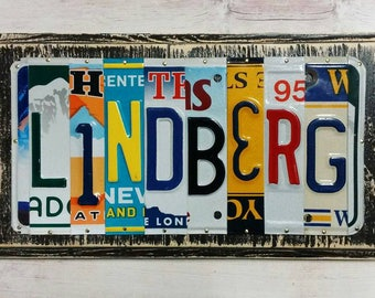 Personalized License Plate Art - Car Guy Gift - Christmas Gift - Gift for Him - Mancave Art - Gift for Dad - Dads Garage Art - Upcycled Gift