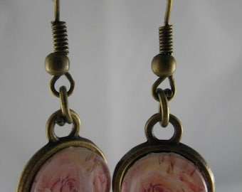 Boucles030 - Earrings bronze and pink flower cabochon