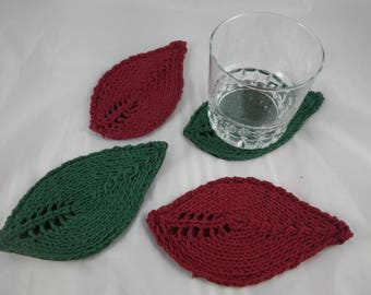 SousVerre03 - Set of 4 coasters green leaves and Burgundy