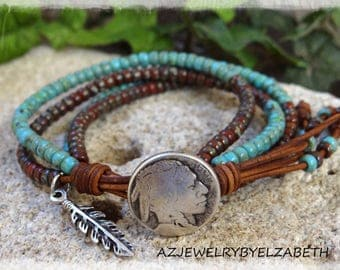 Beaded Wrap Bracelet/ Native American Wrap Bracelet/ Seed Bead Leather Wrap/ Southwestern Leather Bracelet/ Seed Bead Bracelet/ Boho Wrap.