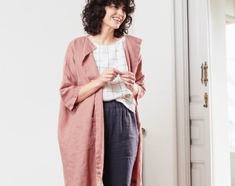 Washed oversized long linen kimono/cardigan/jacket available in 34 colors