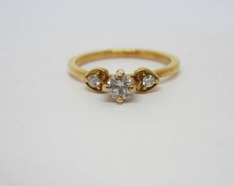 18k Gold Diamond Ring, Engagement Ring, 18k Yellow Gold Ring, April Birthstone