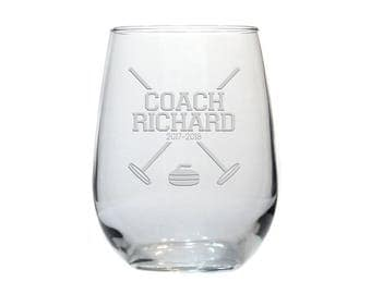 Curling Coach Wine Glass / Curling Personalized Gift / 17 oz Stemless Wine Glass / Personalized Glass /  Personalized Glass