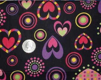 """Hearts Valentines Purple Black JoAnn Cotton Quilting Fabric 1 yard + 14"""" inches"""
