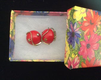 Vintage Coro Red Clip on Earrings accented with Gold Stars