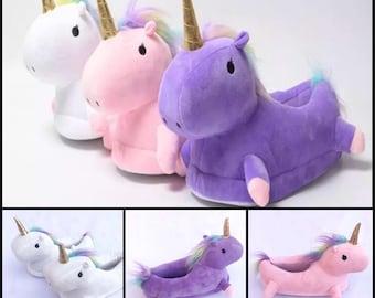 Plush Unicorn Slippers Shoes Pink Purple White Women Kids Girls