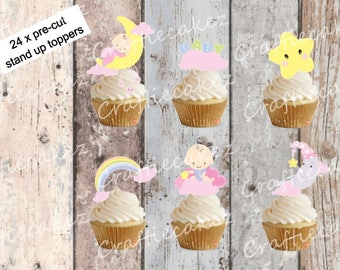 24 x Edible Pre Cut Girls Baby Shower Stand Up Cupcake Toppers