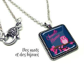 """Necklace """"great Grandma""""-gift pendant square glass cabochon silver chain"""