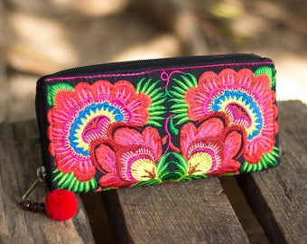 Boho Long Wallet for Women, Fair Trade Purse with Hmong Hill Tribe Embroidered, Pom Pom Zip Pull - WA301FRED