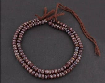 Mega Sale 2 Strands Chocolate Moonstone Silver Coated Faceted Rondelles - Roundle Beads 8mm 14 Inches SB2600
