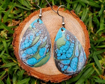 One of a kind hand painted dragon scale dangle drop earrings in shades of green blue and black