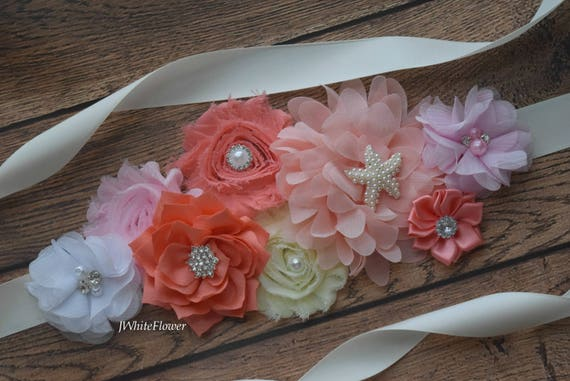 Maternity sash belt, coral yellow white pink Sash, beach sash,  flower Belt, maternity sash, baby shower gift