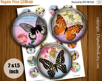 SALE 50% Digital Collage Sheet Shabby Chic Butterfly 2 inch 1.5 inch Printable circle images for Pocket Mirrors Magnets Pendant - 140