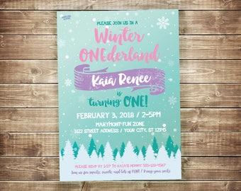 Winter ONEderland Invitation Pink Winter Birthday Invitation Girl Winter First Birthday Invite Snow 1st Birthday Invite Teal Pink Purple