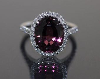 GIA Certified 18k White gold Natural Rose Tourmaline & Diamond HALO ring 10.75ct