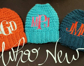 Monogram bun beanie-messy bun beanie-mom bun hat-mom bun-messy mom bun-ponytail- ponytail hat-messy bun hat-beanie with bow-beanie hat, Sale