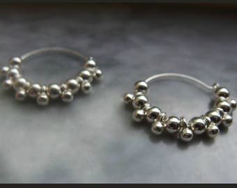 small hoop earrings small sterling silver bubble hoop earrings ball charm earrings versatile dainty earrings everyday earrings 925 sterlin
