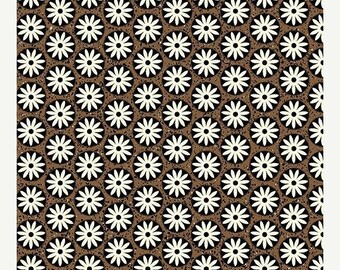AUG10 Sgraffito Circle Floral Bisque/Tan By ELISE K-By the Yard Item #10108-07