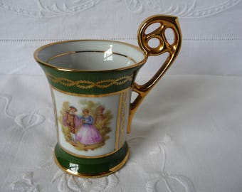 Vintage Meissner Limoges  Coffee Demi Tasse Green and Gold Fragonard Lovers