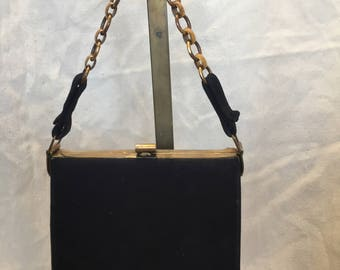 1930s black suede fitted handbag