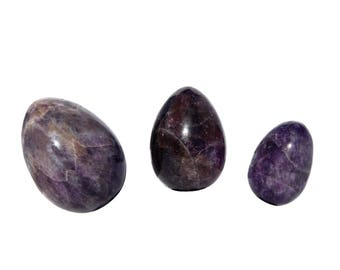 GIA Certified Amethyst Yoni Eggs, All Sizes, Drilled & Undrilled Yoni Egg, Kegel Yoni Egg, kegel weights, womb wellness
