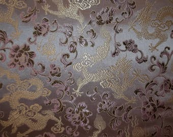 Chinese Brocade Fabric Pink / Brown / Gold Dragons