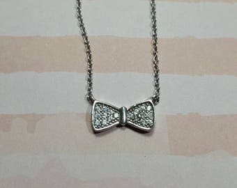 Bow Necklace Silver Bow Charm Necklace Bridesmaids Gift Frienship Gift Valentine's Day Gift Layered Necklace Teen Gift Dainty Necklace