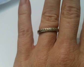 Sterling Silver Square Band Ring Circle Embossed