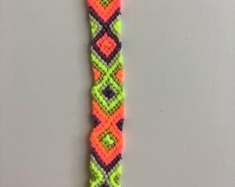 Neon Aztec Summer Macrame Friendship Bracelet