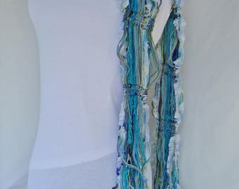 Ocean Waves Handwoven Ribbon Scarf