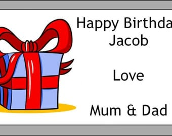 Personalised Birthday present Self Adhesive Labels x 24