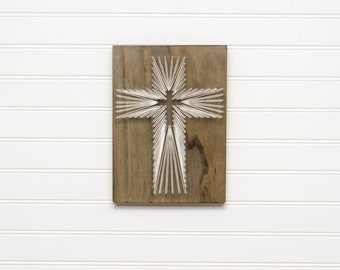 Cross String Art - Christian Wall Art - Religious Wall Art - Christian Gifts - Baptismal Gift - Farmhouse Decor - Country Decor