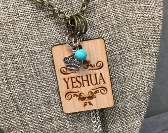 Yeshua Quote Necklace, Faith Based Jewelry, Group Gift Ideas, Handcrafted Jewelry, Laser Engraved, Customized Jewelry, Bursting Bar