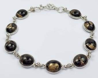 925 Sterling Silver Copper Black Onyx Gemstone Bracelet