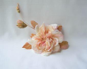 Original rose from silk brooch-barrette- veil