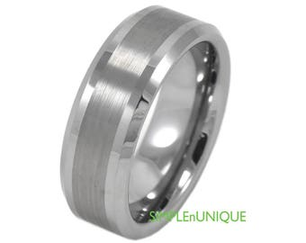 Tungsten Mens Wedding Band, Laser Engravable Wedding Band Mens, Mens Tungsten Ring, Valentines Day Gift for Husband, Tungsten Ring Mens